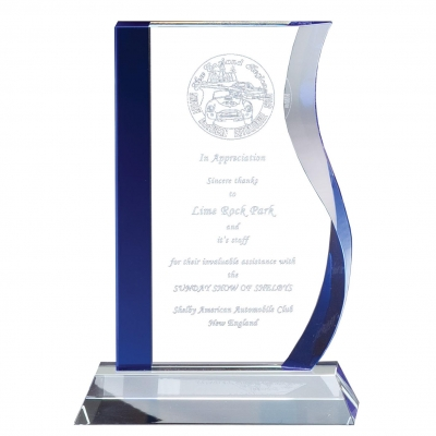 Blue Accented Wave Glass Award image