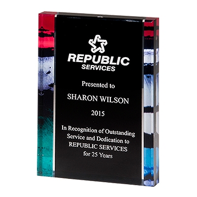 Premium Standing Acrylic Award with Stained Glass Border Pattern image