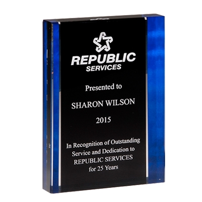 Premium Standing Acrylic Award with Blue Side Border image