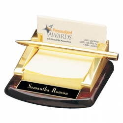 Rosewood Business Card & Post-It Holder
