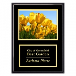 Black Plaque with Gold Frame Photo