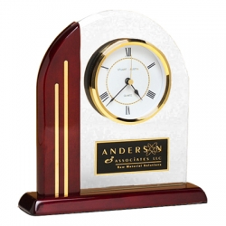 Glass & Rosewood Arch Clock