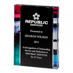 Premium Standing Acrylic Award with Stained Glass Border Pattern