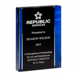 Premium Standing Acrylic Award with Blue Side Border