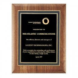 Solid American Walnut Plaque with Black Florentine Textured Plate