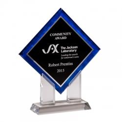 Blue Border Diamond Acrylic Award